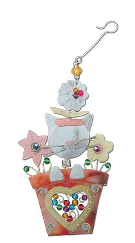 Flower Pot Kitty Hanging Decoration
