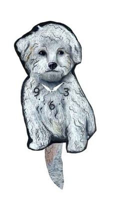 Bichon Dog Wall Pendulum Clock
