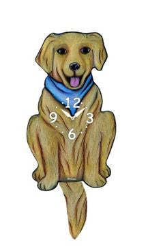 Blue Scarf Dog Wall Pendulum Clock