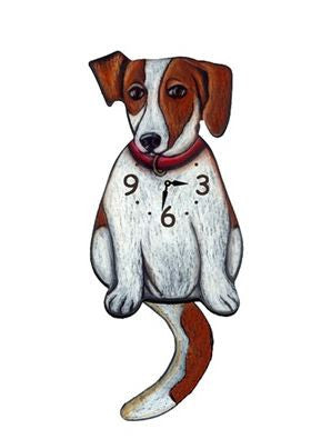 Brown Jack Russell Wall Pendulum dog Clock
