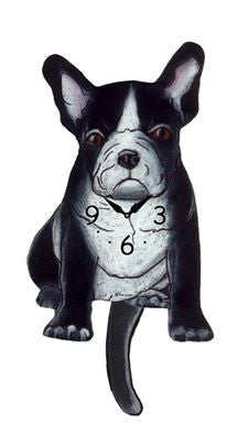 Black And White French Dog Wall Pendulum Clock
