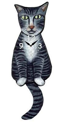 Gray Tabby Cat Wall Pendulum Clock