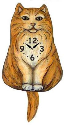 Orange Fluffy Tabby Cat Wall Pendulum Clock