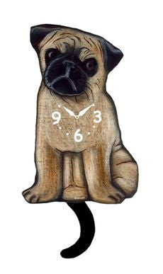 Pug Dog Pendulum Wall Clock