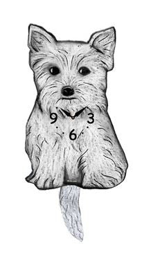 Westy Dog Wall Pendulum Clock