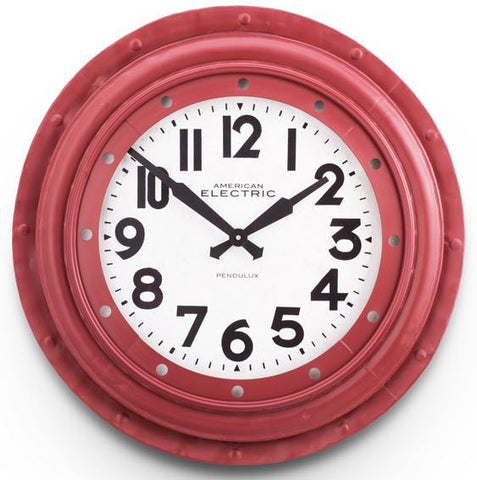 Red Electric Round Wall Clock