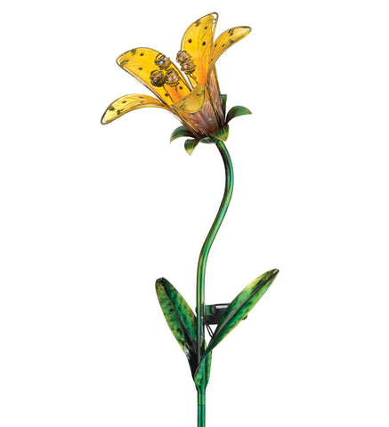 Tiger Lily Yellow Solar Stake