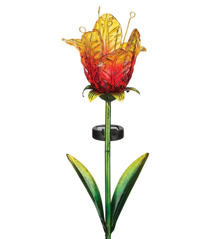 Ruffled Red Tulip Solar Stake