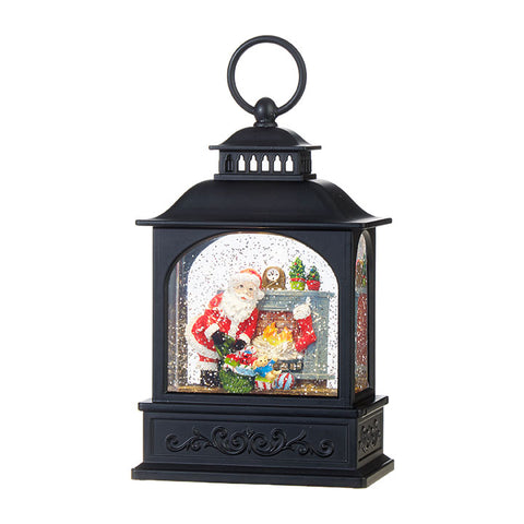 Small Santa by the Fireplace Lighted Water Lantern