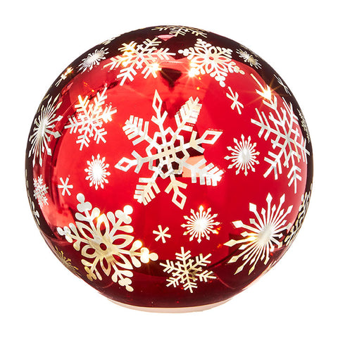 Red Snowflake Lighted Globe