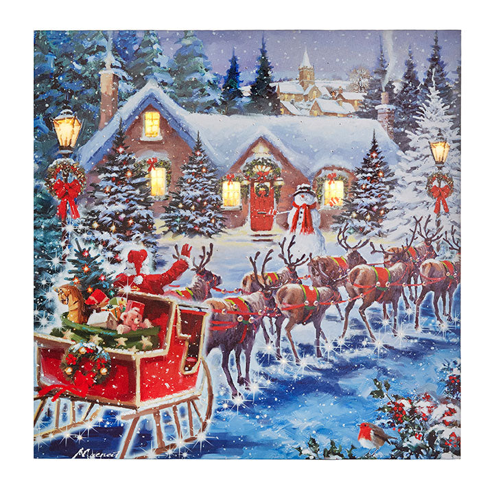 Santa & Sleigh Lighted Print