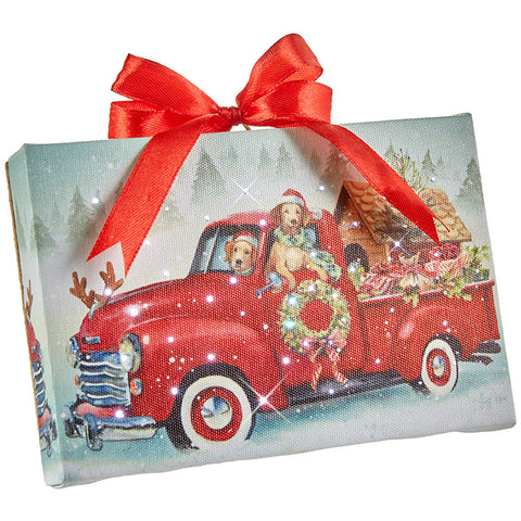 Dogs in Red Truck Lighted Print Ornament