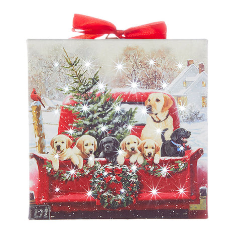 Labradors in Truck Lighted Print Ornament with Easel Back