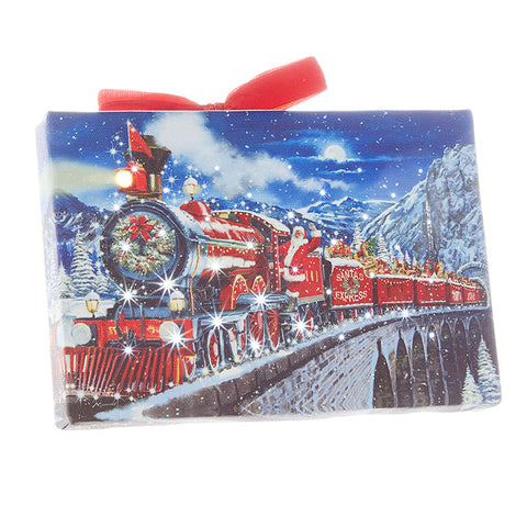 Santa Express Lighted Print Ornament with Easel Back