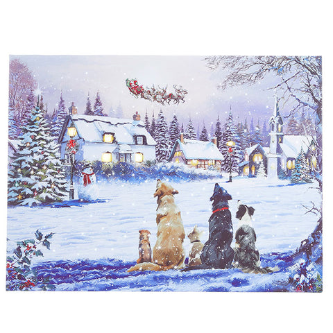 Dogs Watching Santa Lighted Print