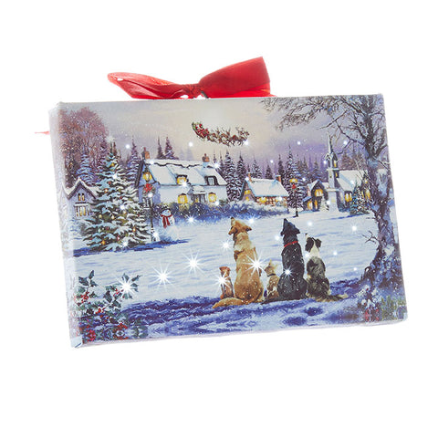 Dogs Watching Santa Lighted Print Ornament with Easel Back