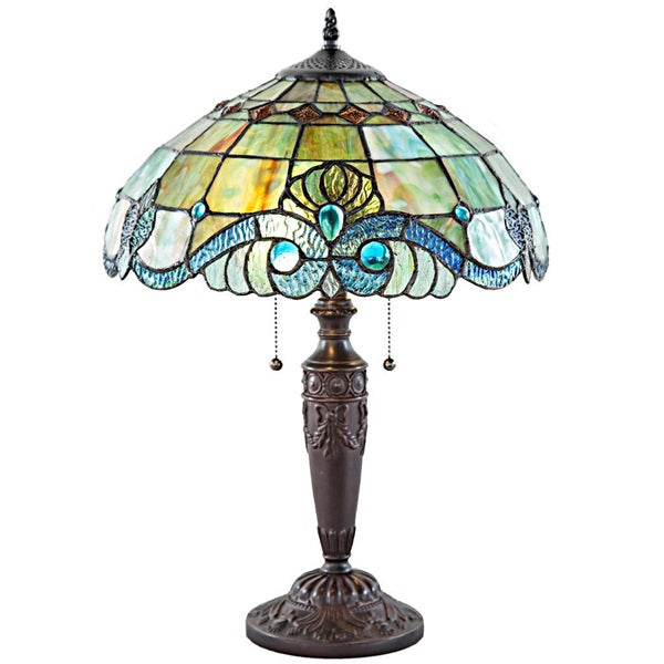 Vivienne Baroque Style Green Stained Glass Table Lamp