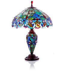 Victorian Style Stained Glass Double Lit Table Lamp