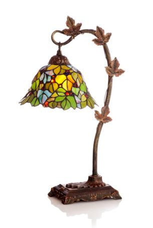 Harvest Leaves Accent Green Table Lamp