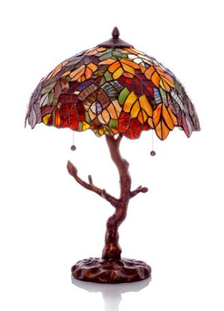 Autumn Leaves Table Lamp With Tree Trunk Base