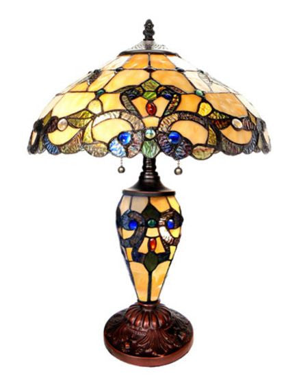 Magna Carta Stained Glass Double Lit Ivory Table Lamp