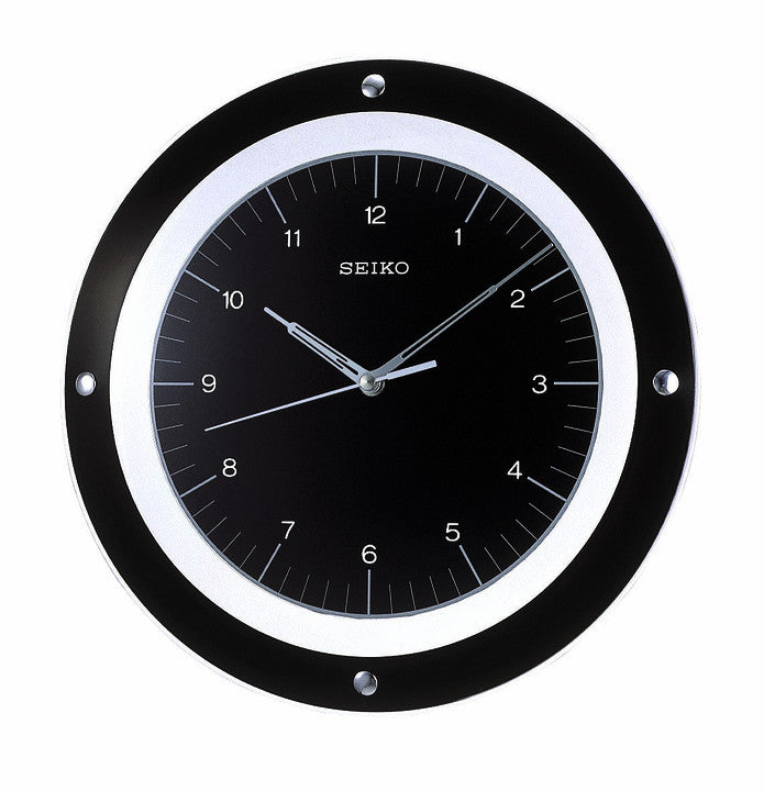 Floating Dial Wall Clock with Quiet Sweep - Black