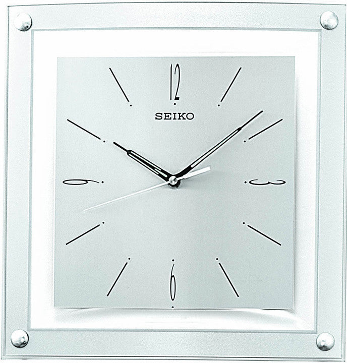 Square Floating Dial Wall Clock with Quiet Sweep - Silvertone