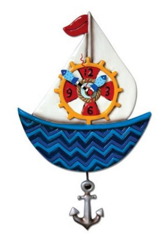 Ahoy Sailboat Wall Pendulum Clock