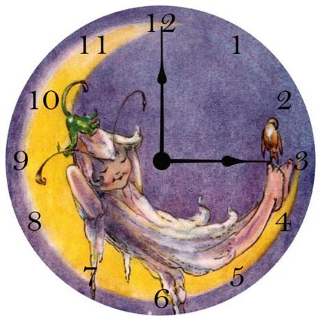 Sleeping Fairy On The Moon Wall Clock