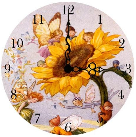 Sunflower Fairy Wall Clock