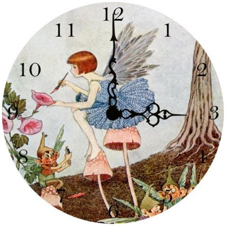 Fairy Painting A Flower Wall Clock