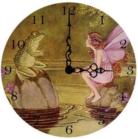 Fairy With Frog Wall Clock