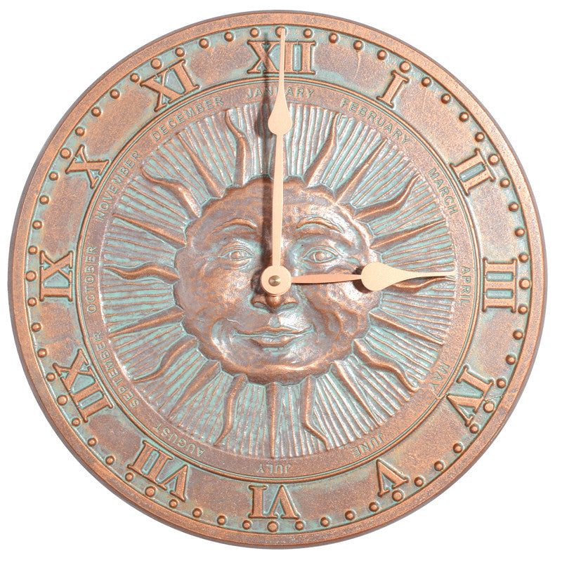 Sun-face Recycled Aluminum Indoor / Outdoor Wall Clock