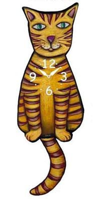 Yellow Stripe Cat Pendulum Wall Clock
