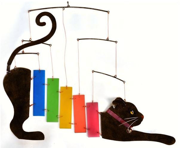 Rainbow Kittie Metal & Sea-Glass Mobile / Wind Chime
