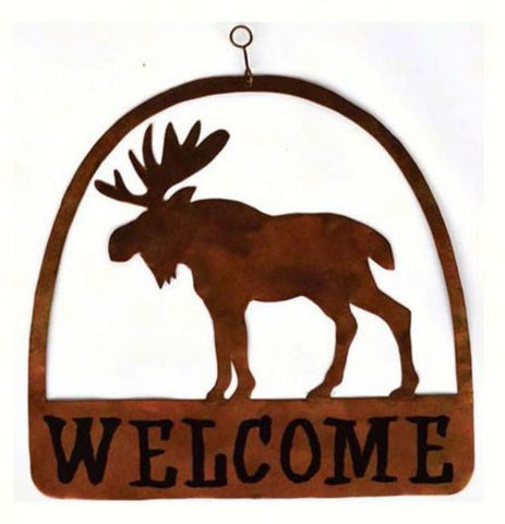 Round Moose Welcome Sign