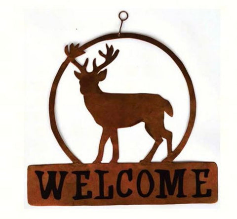 Round Deer Welcome Sign