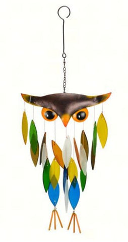 Owl Sea-Glass Wind Chime