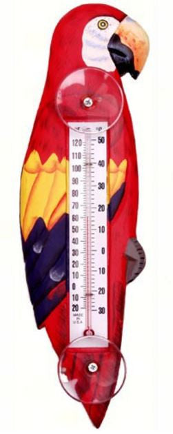 Red Parrot Small Window Thermometer