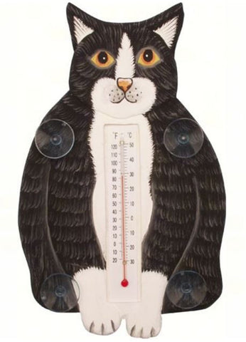 Fluffy Black & White Cat Small Thermometer