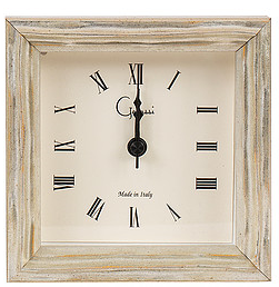 Weathered White Rippled Picture Frame Alarm Clock