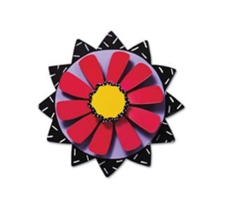 "8"" Red Flower on Black Kinetic Art Sculpture"