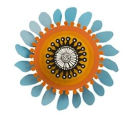 "8"" Orange Flower on Blue Kinetic Art Sculpture"