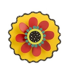 "8"" Red Flower on Yellow Kinetic Art Sculpture"