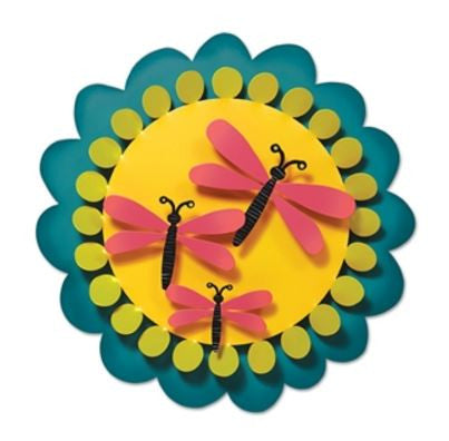 "13"" Pink Dragonflies on Yellow Kinetic Art Sculpture"