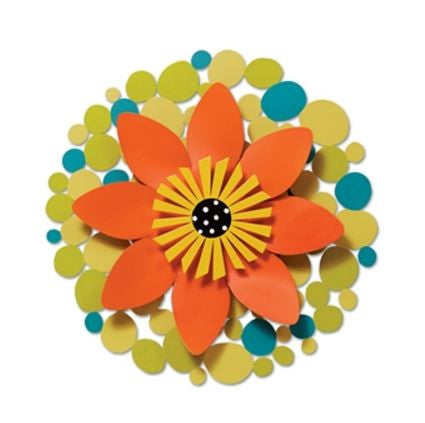 "13"" Orange Flower on Green Dots Kinetic Art Sculpture"