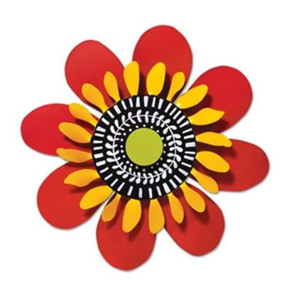 "13"" Red and Yellow Flower Kinetic Art Sculpture"