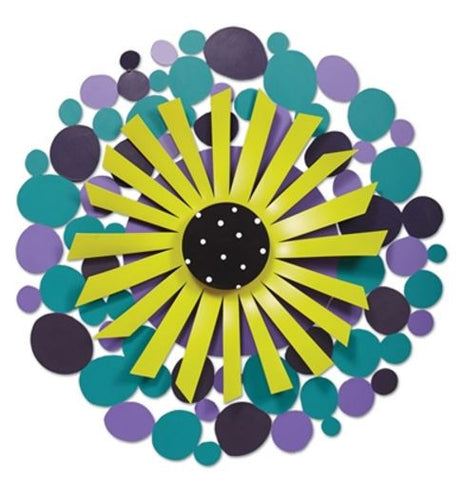 "18"" Purple Dots with Green Flower Kinetic Art Sculpture"