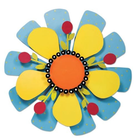 "18"" Yellow Flower on Blue Kinetic Art Sculpture"