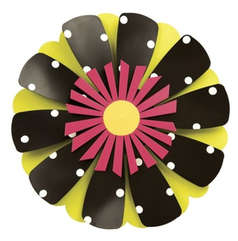 "18"" Pink Flower on Black and White Kinetic Art Sculpture"